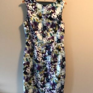 Floral stretch cotton sleeveless sheath dress
